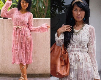 Bohemian Sheer Lace Dress/Boho Long Sleeve Lace Dress/Romantic Lace Dress/Festival Flora Lace Dress/Sheer Wedding Lace Dress/Evening Dress.