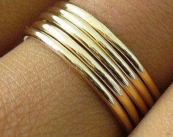 Stack Ring Set 5 Polished Gold Band Stacking Ring Set Mix Sizes in Your Set for Midi Rings Stackable Thumb Ring Set Gift 5 Golden Rings