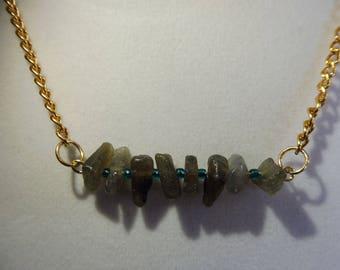 Labradorite Bar Necklace | Gemstone Necklace | Labradorite Gemstone Necklace