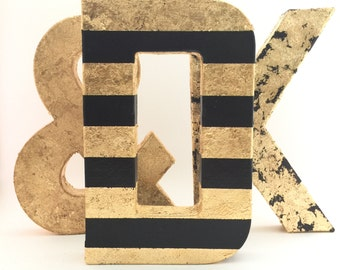 Gold Letters - Black and Gold Leaf Striped - Wedding - Nursery - Baby Shower - Farmhouse - Chic - Cute - Fun - Glamorous - Wall Decor