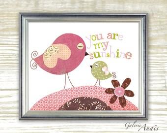 You Are My Sunshine Nursery art prints - baby nursery decor - nursery wall art - children wall art - kids bird - pink green print