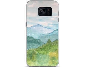 Samsung Galaxy S7,  S7 Ed, Samsung Galaxy S8, Mountain Phone Case, S8 plus phone case, Watercolor artist case, painted cover, smoky mountain