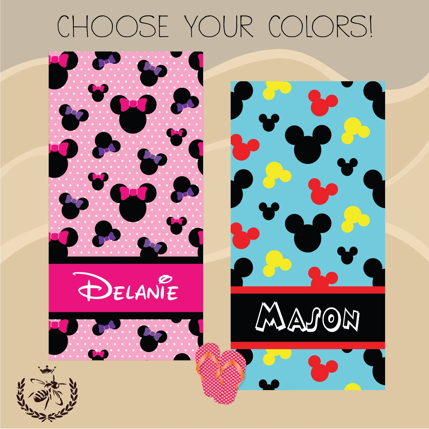 Mickey Minnie Themed Beach Towel