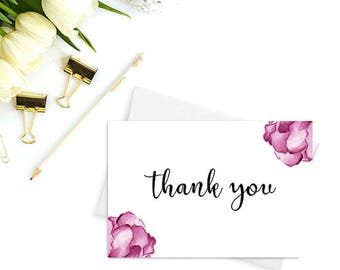 PRINTABLE Thank you cards, Wedding thank you cards, Bridal shower thank you cards, Thank you cards baby shower, Floral Cards