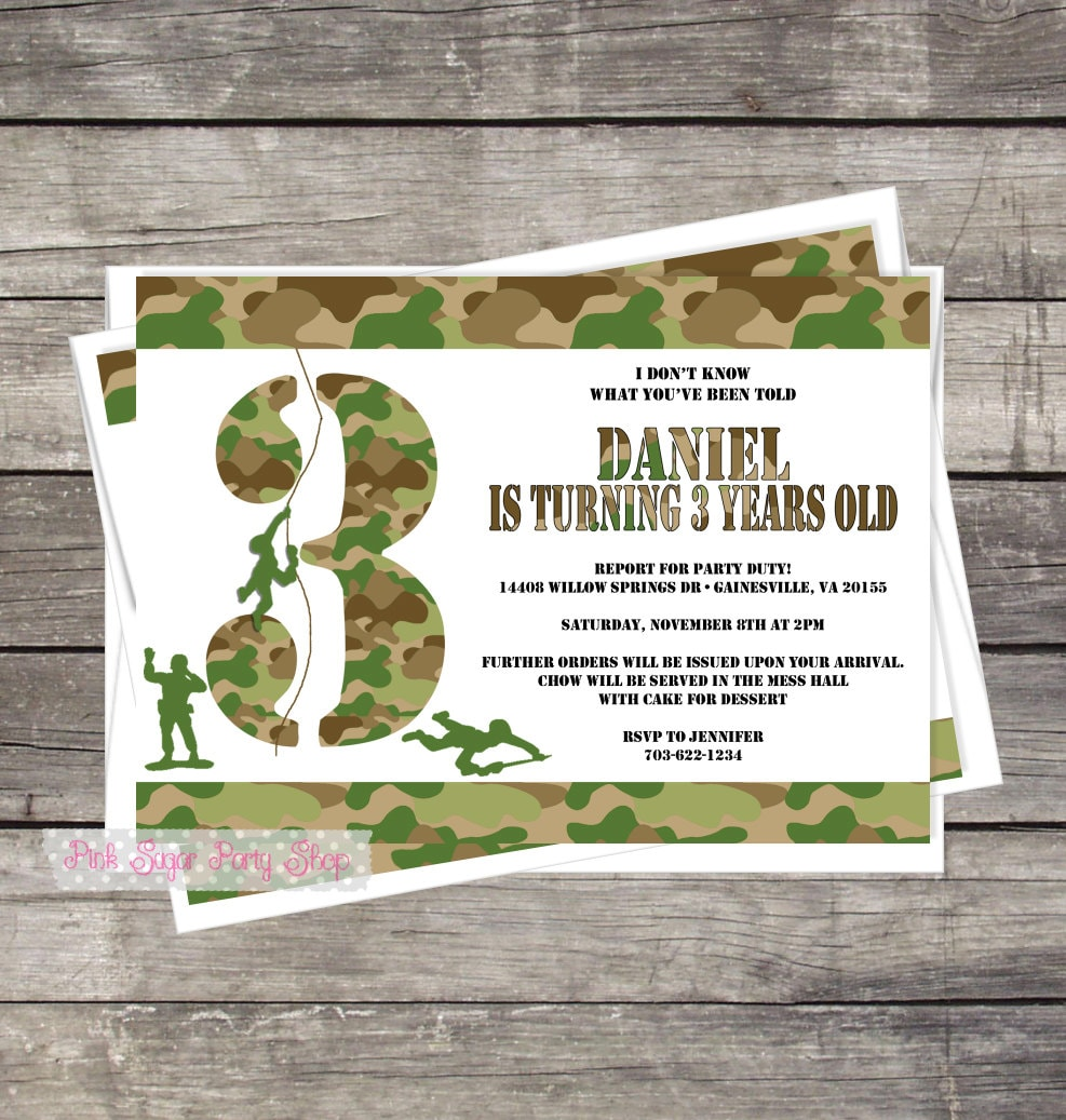 Army Birthday Party Invitation Kids Birthday Party Camo