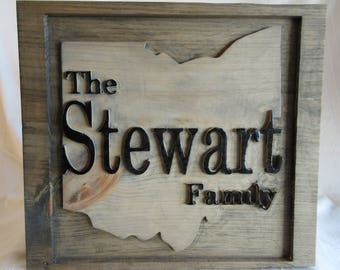 Custom Personalized Family Name Ohio State Silhouette Wall Art Plaque Sign