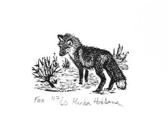 Renard miniature imprimé renard - gravure sur bois - gravure - impression des animaux bois