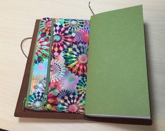 Zippered Insert for Midori Travelers Notebook, Standard Size, Personal Size, Passport Size, Micro Size - Crystalia Kaleidescope Opal