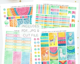 Llama Party - Weekly Kit for Classic Happy Planner   Printable Planner Stickers   Instant Download   JPG, PDF, Silhouette Cut File