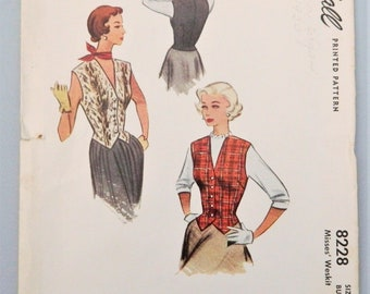 1950 Vest Pattern - complete mid-century vest weskit pattern; McCall sewing pattern 8228 size 18 bust 34