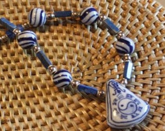 Asian Yin Yang blue hand painted Chinese ceramic necklace  sterling silver beads