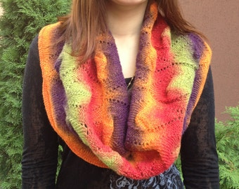 Colorful handknit Scarf for Woman