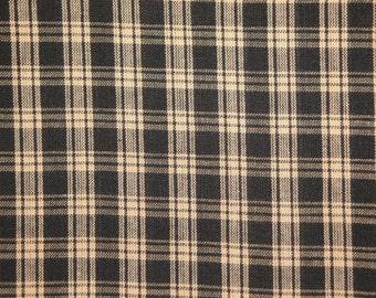 Black Plaid Fabric  |  Cotton Homespun Fabric  |  Basic Plaid Homespun Fabric  |  Rag Quilt Fabric |  Farmhouse Fabric | Doll Making Fabric