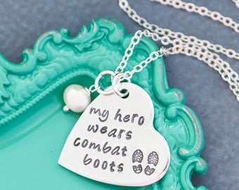 Military Wife Gift Military Mom Necklace Combat Boots Army Wife • My Hero Necklace Marines Wife Deployment Gift Deployed Necklace