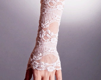 Wedding DELICATE Fingerless White Gloves,Wedding Lace gloves,white lace gloves,short lace gloves, short fingerless lace gloves