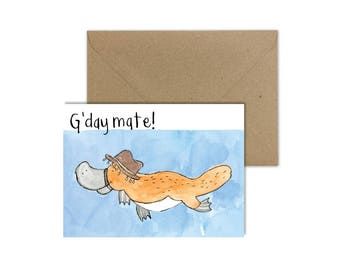 Platypus Watercolor Painting//Platypus Card//Australian Card//Miss you Card//Australian Animal//Aussie Animals