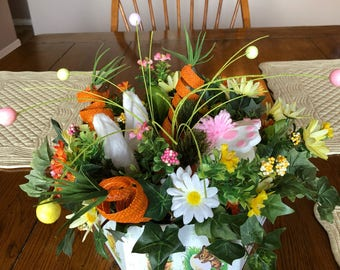 Bunny Diving into Carrot Patch Centerpiece