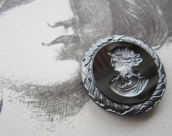 Vintage W. German Cameo Intaglio Silver And Black 35mm