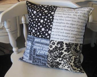 Decorative Throw Black and White Patch 16 X 16 Pillow Cover