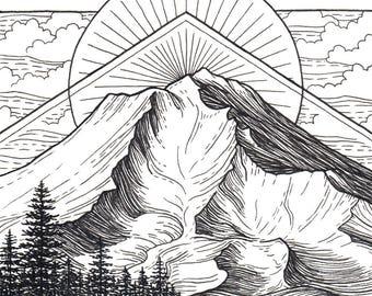 Mt Shasta 8x8 Print - Mountain Art Giclee Print - Mount Shasta California Drawing