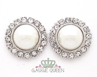 "Silver Pearl Plugs /Gauges. 2g / 6.5mm, 0g / 8mm, 00g / 10mm, 1/2"" / 12mm by GaugeQueenPlugs"