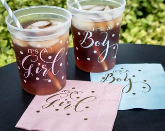 Polka Dot Baby Shower Cups and Napkins, Its a Girl, Its a Boy, Baby Shower Favors, Gender Reveal Party Favors, Baby Shower Party Set