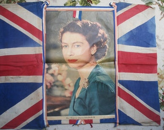 Vintage Union Jack flag with picture of Queen Elizabeth