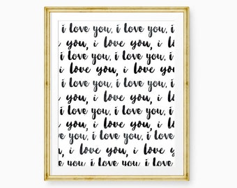 I Love You Repeating Hand Drawn Print - PRINTABLE I Love You Print - Inspirational Print - Love Art - Wall Decor - Quote Print - Love Decor