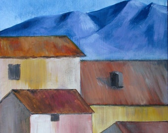 Houses colours, people, 31 small painting, original oil painting, 5 x 24 cm, blue, ochre