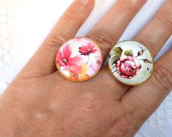 flower ring Nature Ring pink ring glass jewelry Rose flower ring Woodland Jewelry Nature Inspired Nature Lover Gift for her Botanical ring
