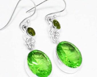 """Sterling Silver Peridot Earrings, Silver Earrings, Peridot Earrings, Oval, 2-Stone .925 Sterling Silver Earrings 2""""x0.5"""" (With Hook)"""