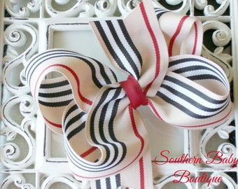 New----Big Boutique 4 Inch Hair Bow Clip---Tan Black White Red Stripes---Back to School Bow