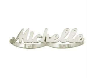 TFG01 - Sterling Silver Two Finger Script Letter Name Ring