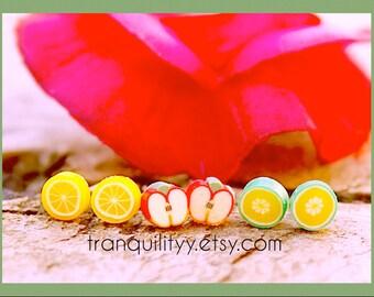 Fruit Stud Earrings  , Tiny Fruit Cane Earrings Set, 3 Pairs Earrings, Kids, Infants, Toddlers, Teens, Girls, Handmade By: Von'Dez Redman
