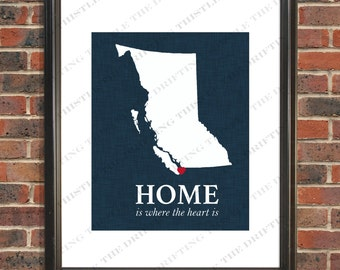 British Columbia, map,home, heart,gift,house warming, new home,birthday,christmas