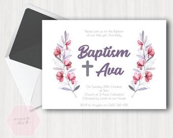 Girl Baptism Invitation, Simple Pink Grey Gray Pink Leaf Floral Baptism Invite, Christening Invite, Christening Invitation, Rustic, Simple