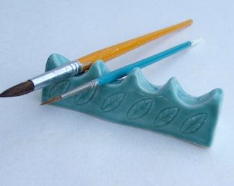 Ceramic Artist Brush/Pen Rest, Handmade, Leaf pattern,Porcelain