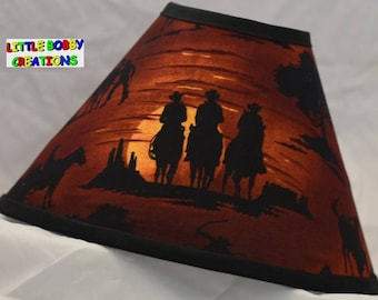 Lamp shade etsy western cowboy sunset riding horse fabric lamp shade 10 sizes to choose from aloadofball Choice Image