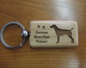 German Shorthaired Pointer Wood Keychain - Customizable