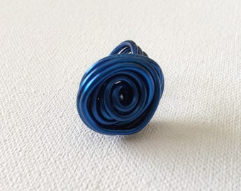 Rose Ring in Cobalt Blue