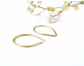 14K Gold Earrings, Small Hoop Earrings, Gold Hoop Earrings, Hook Earrings, Upside Down Hoop, Ear Cuff Earrings