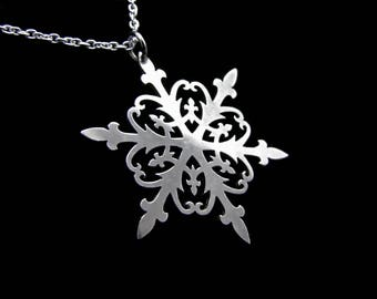 Sterling Silver Lace Winter Snowflake Necklace - Ice Queen - FALLING SNOW