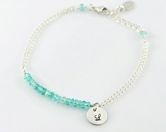 Gemstone Double Strand Bracelet - Sterling Silver, Semi Precious Gemstones, Apatie, Initial Round