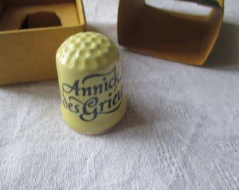thimbles collectible porcelain, yellow