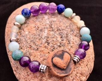 Kiln-Fired Clay Heart Diffuser Bracelet. Amethyst. Chinese Azurite. Amazonite. Jade. Lapis Lazuli.Crown Third Eye, Throat and Heart Chakra.