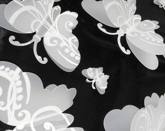 Set of 20 Frosty Transparent 3D Wall Double Wing Butterflies, Plastic, Wall Art,Teenagers Room, Girl Room, Nursery, Wedding, Baby Shower