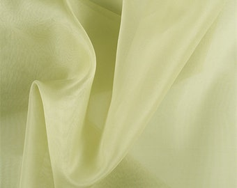 Celery Silk Organza, Fabric By The Yard