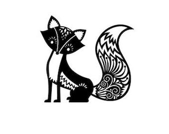 Cute fox rubber stamp medium