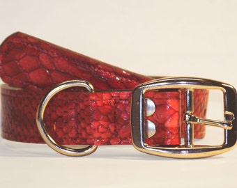 """Dog Collar- 1"""" -  Patent Snake Leather"""