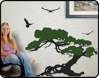 """Coastal Decor Tree Wall Decal with flying birds - Juniper tree wall decor Coastal beach decor 23"""" tall by 36"""" wide"""